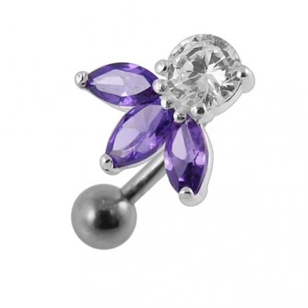 Fancy Jeweled Silver Reverse Belly Ring PBN0599