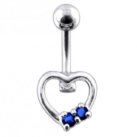 Jeweled Mini Heart Non-Moving  Belly Ring