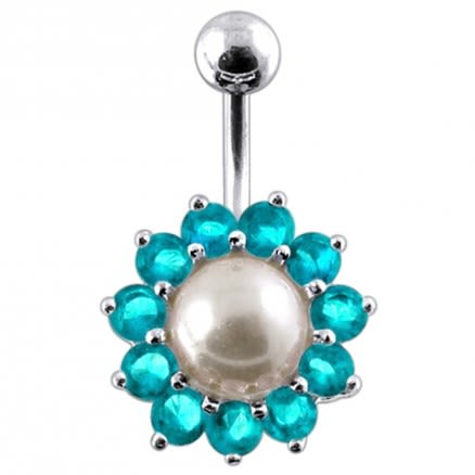 925 Sterling Silver Peral Studded Navel Ring PBN623