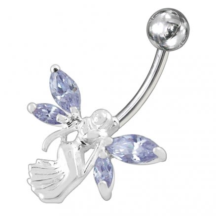 Angel shapped Jewelled Non-Moving  Belly Ring
