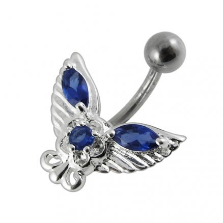 Fancy Butterfly Jeweled Non-Moving Belly Ring