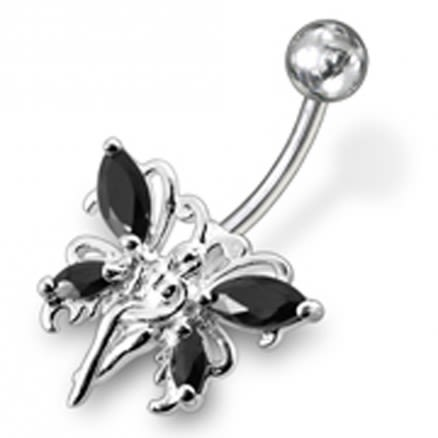 Butterfly angel Jewelled Non-Moving  Belly Ring