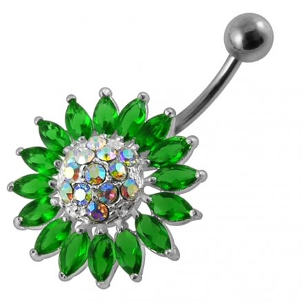 Jeweled Sun Flower Non-Moving Belly Ring