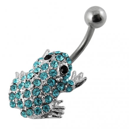 Jeweled Frog Non-Moving Belly Ring