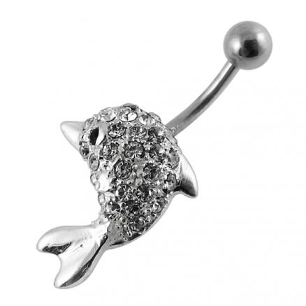 Jeweled Dolphin Navel Belly Ring