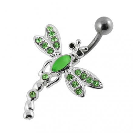 Jeweled Dragon Fly Non-Moving Belly Ring