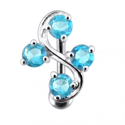 Tetra Fancy Jeweled Non-Moving  Belly Ring