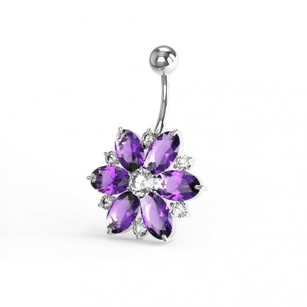 Fantasy Silver Jeweled Flower Non-Moving Belly Ring