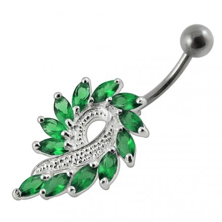 Imaginary Jeweled Flower Non-Moving  Belly Ring