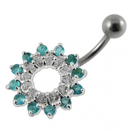 Jeweled Navel Around Non-Moving  Belly Ring