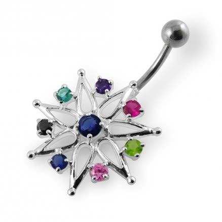 Celtic Jeweled Flower Non-Moving  Belly Ring