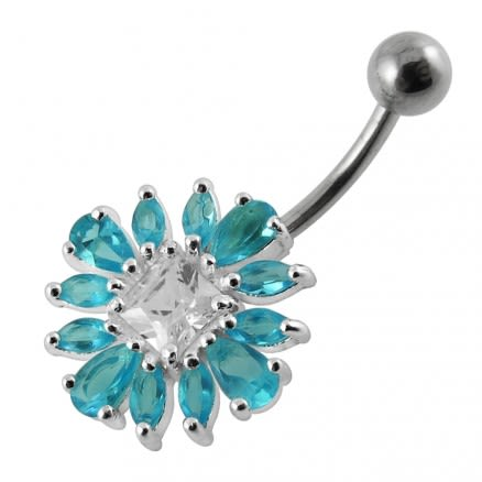 Jewelled Flower Non-Moving  Belly Ring