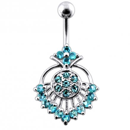 Jewelled Art Heart Eye Non-Moving  Belly Ring