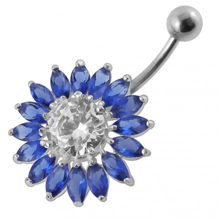 Jeweled SunFlower Non-Moving Belly Ring