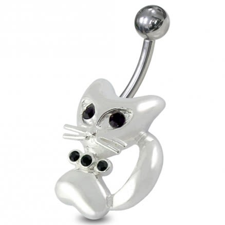 Jeweled Cat Non-Moving Belly Ring