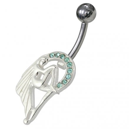 Jeweled Angel Non Dangling Belly Ring