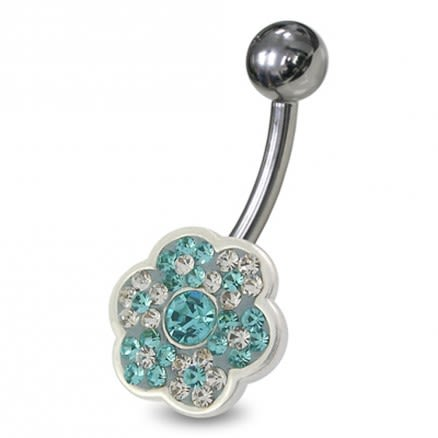 Flower Shaped Jewelled Non-Moving  Belly Ring
