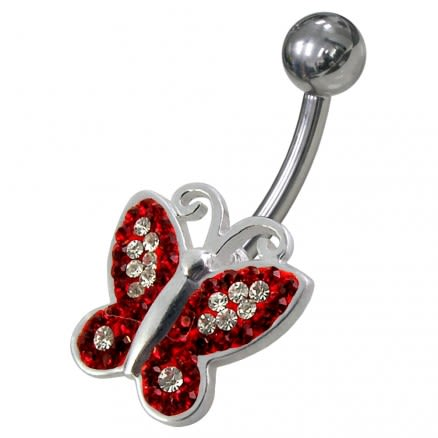 Butterfly Shaped Jewelled Non-Moving  Belly Ring