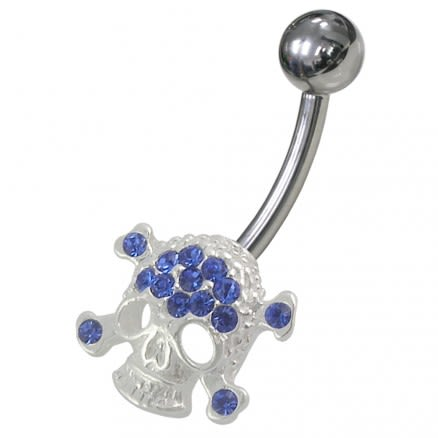 Jeweled Skull Non-Moving Belly Ring