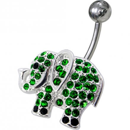 Jeweled Elephant Non-Moving Belly Ring
