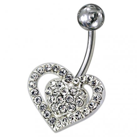 Silver Fancy Jeweled Heart SS Curved Navel Ring PBN0918
