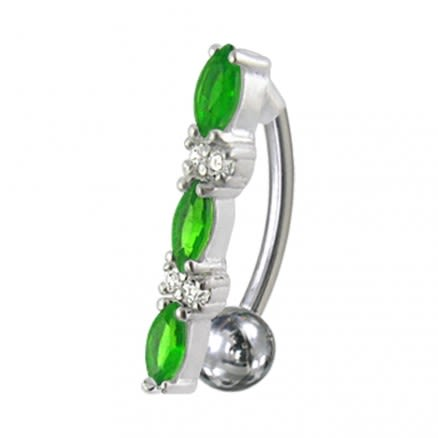 Fancy Jeweled Non-Moving Reverse Silver & Titanum Belly Ring