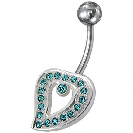 Fancy Jeweled Heart Non-Moving Silver Belly Ring