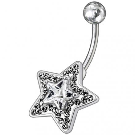 Multi Gems Fancy Star Non-Moving Curved Bar Navel Ring