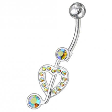 Fancy Jeweled Heart Non-Moving Navel Belly Ring Body Jewelry PBN0939