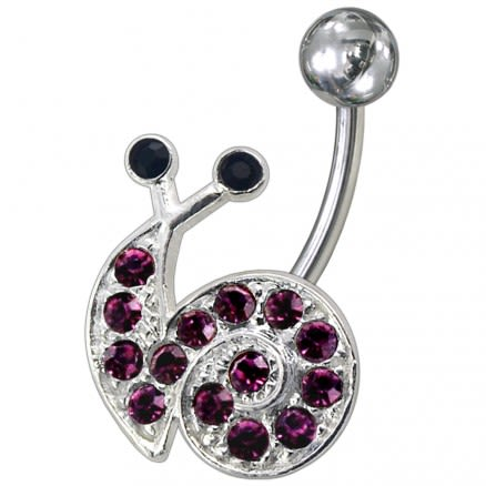 Fancy Jeweled Snail Non-Moving Belly Ring