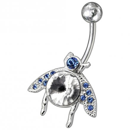 Titanium Bar Fancy Jeweled Non-Moving Navel Belly Ring