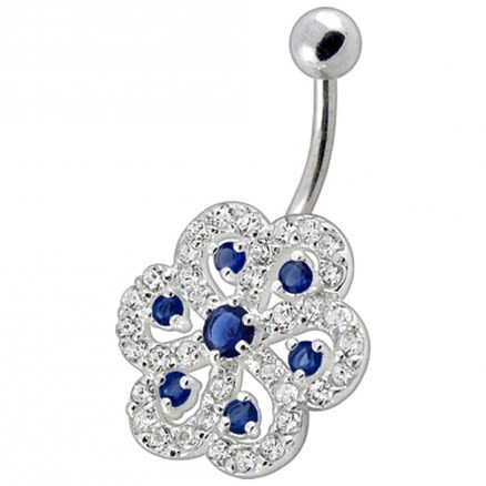 Fancy White And Red Stone Jeweled Silver Non-Moving Titanium Bar Belly Ring