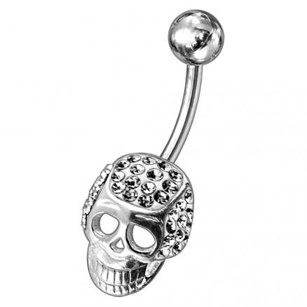 Fancy Jeweled Non-Moving Skull Navel Ring