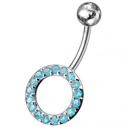 Multi gems Fancy Non-Moving O Shape  Belly Ring