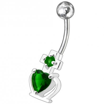 Fancy White Zirconia Jeweled Non-Moving SS Bar Belly Ring