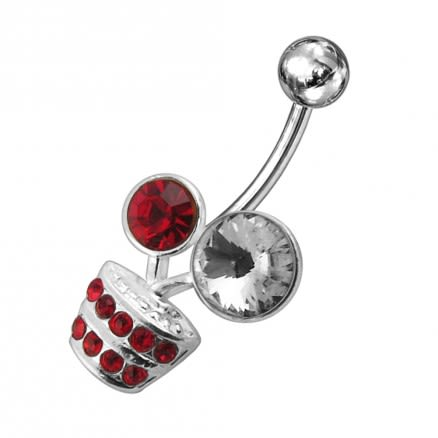 Fancy Multi Jeweled Flower Pot Non-Moving Belly Ring