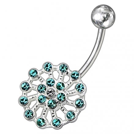 Fancy Multi Jeweled Non-Moving Wheel SS Bar Banana Belly Ring