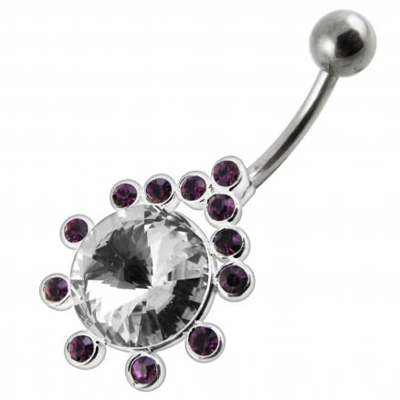 Fancy White Zirconia Jeweled Non-Moving Navel Ring
