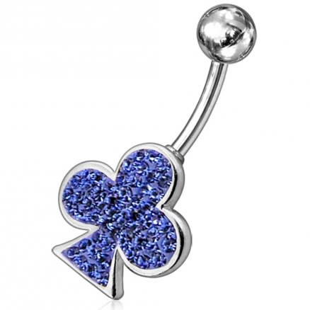 Fancy Red Jeweled Leaf Non-Moving SS Bar Navel Belly Ring