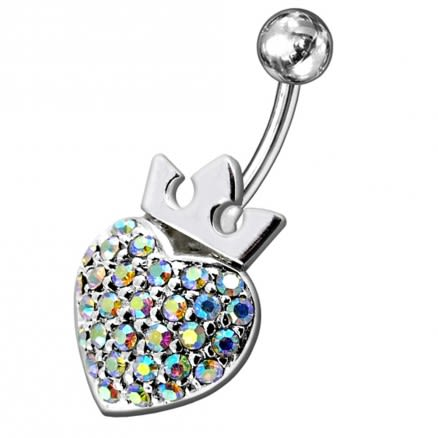 Fancy Jeweled Princes Heart Silver Belly Ring
