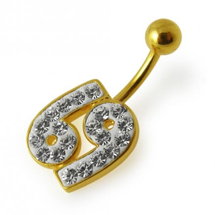 Fancy Jeweled Silver 69 Number Logo With SS Bar Belly Ring