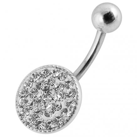 Fancy Jeweled Silver Round SS Bar Navel Belly Ring