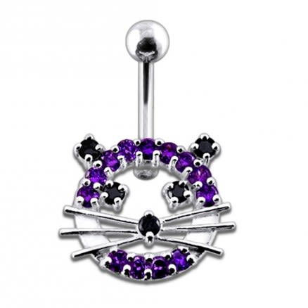 Fancy Jeweled Cat Silver Belly Ring