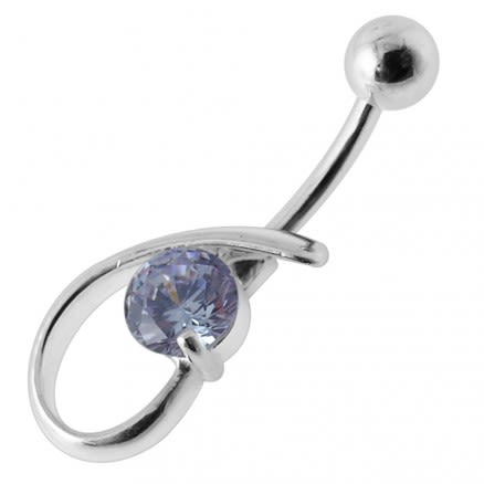 Fancy Single Stone Jeweled Silver Belly Ring Body Jewelry
