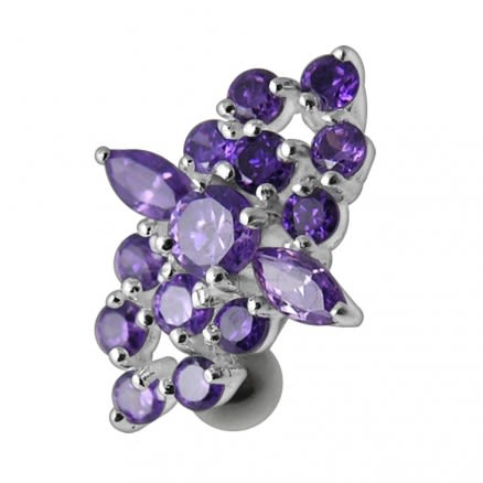 Fancy CZ Jeweled Reverse Silver Belly Ring