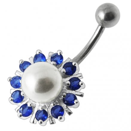 Pearl flower Silver Belly Ring