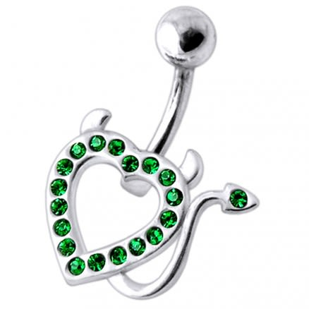 Devil Heart  Jeweled Silver Belly Ring