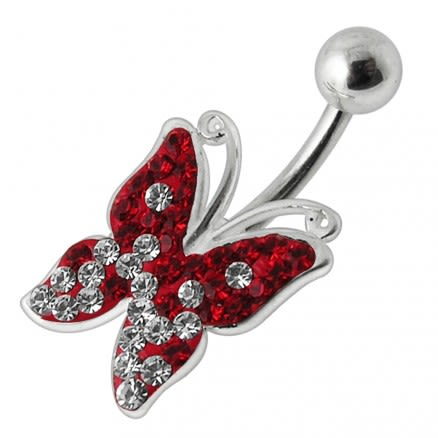 Butterfly Silver Navel Ring