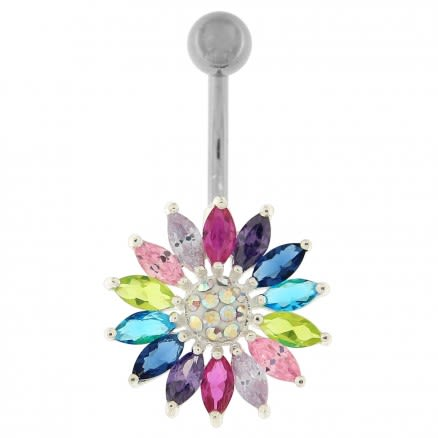 Fancy Jeweled Green Sunflower Silver Belly Ring