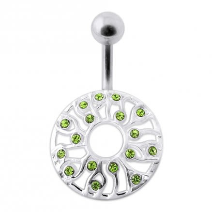 Fancy Zirconia Jeweled Silver SS Bar Banana Belly Ring